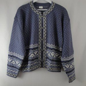 Estonian Womens Cardigan Sweater Wool Fair Isle